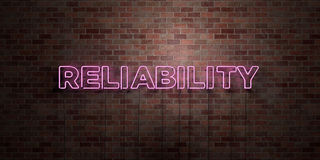 RELIABILITY - fluorescent Neon tube Sign on brickwork - Front view - 3D rendered royalty free stock picture. Can be used for online banner ads and direct Stock Photo