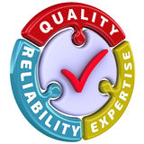 Reliability, quality, expertise. The check mark in the form of a puzzle. The inscription `reliability, quality, expertise` on the puzzle in the shape of a circle Royalty Free Stock Images