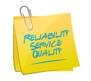 Reliability service quality memo illustration Stock Images