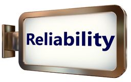 Reliability on billboard background. Reliability on wall light box billboard background , isolated on white Stock Photo