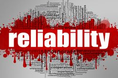 Reliability word cloud. Creative illustration of idea word lettering typography . 3D rendering Stock Photo