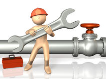 Reliable engineers are working with a large tool. Stock Photos