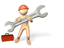 Reliable engineers are working with a large tool. Royalty Free Stock Photo