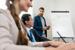 Reliable expert conducting a SWOT analysis during board of directors meeting. Reliable expert wearing formal business suit while conducting a SWOT analysis royalty free stock images