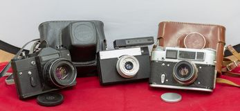 Reliable Film cameras made in the USSR stock photography