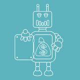 Reliable investment funds. Robot guards a large sum of money Royalty Free Stock Photo
