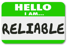 Reliable Name Tag Sticker Dependable Worker Team Member Person Royalty Free Stock Photography