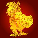 Reliable rooster gold on red background Stock Photos
