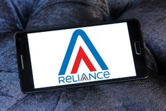 Reliance Communications logo. Logo of Reliance Communications on samsung mobile. Reliance Communications ,RCom, is an Indian telecommunications company Royalty Free Stock Images