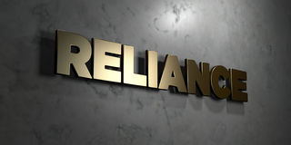 Reliance - Gold sign mounted on glossy marble wall  - 3D rendered royalty free stock illustration Royalty Free Stock Photos