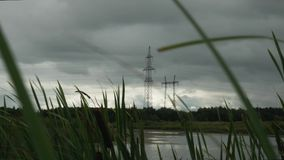 Reliance of high-voltage power lines. Near an overgrown pond with kmysh stock footage