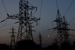 Reliance power line against the night sky Stock Images