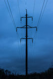 Reliance power. Power line in the evening Stock Image