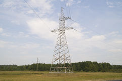 Reliance power line in an open field Stock Images