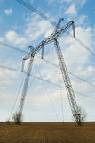 Reliance powerful electric transmission lines. Stock Photo