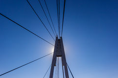Reliance suspension bridge. With radiating steel cables Stock Images