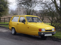 Reliant Robin car. Yellow Reliant Robin three wheeler car Royalty Free Stock Image