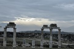 Relic of the ancient city Hierapolis. In the morning beside the Pamukkale Royalty Free Stock Images
