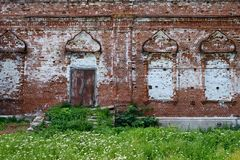 The relic wall of a church. Is made of brick. There are arch pattern on the wall royalty free stock images