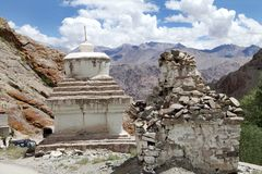 Relics of stupas in the Hemis Monastery complex, Leh Stock Photo