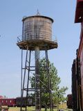 Relics of a water tank in an 1880s town in South Dakota. Old water tank on display by the train station of an old 1880s town in South Dakota stock images