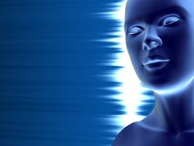 Relief. Artificial human head against blue background Royalty Free Stock Images