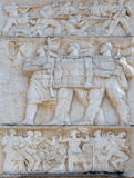 Relief above the Council of Ministers glorifies socialist victory in all fields, Tirana Royalty Free Stock Image