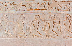 Relief at Abu Simbel temples. Ancient hieroglyphics on the wall of Great temple of Abu Simbel, Nubia, Egypt royalty free stock images
