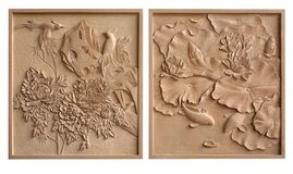 Relief Adornment picture stone material craft Stock Image