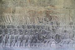 Relief at Angkor Wat Stock Photo
