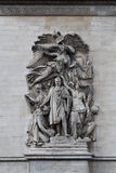 Relief at Arc de Triomphe. Detailed picture of the relief at Arc de Triomphe, Paris, France Stock Images