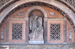 Relief arch over the gate to the Saint Marks Basilica, Venice. Relief arch over the gate to the Saint Marks Basilica Patriarchal Cathedral Basilica of Saint Mark Stock Images