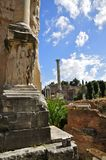 Roman Forum. Relief on the arch of Septimius Severus, and the column of Phocas, in portrait mode Stock Photography