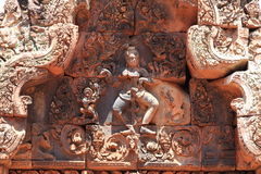 Relief at Banteay Srei in Angkor Stock Image