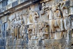 Relief in Borobudur temple, Indonesia. Borobudur is the greatest Buddhist temple in the world. Located in Central Java, Indonesia. It also be the one of Seven Royalty Free Stock Image