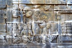 Relief in Borobudur temple, Indonesia. Borobudur is the greatest Buddhist temple in the world. Located in Central Java, Indonesia. It also be the one of Seven Royalty Free Stock Photos
