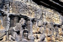 Relief in Borobudur temple, Indonesia. Borobudur is the greatest Buddhist temple in the world. Located in Central Java, Indonesia. It also be the one of Seven Royalty Free Stock Photography