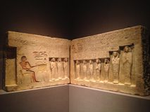 Relief from the Chapel of the Overseer of the Troops Sehetepibre at Metropolitan Museum of Art. Stock Image