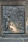 Relief on Charles' Bridge. Prague. Martyrium st. John Nepomuc Royalty Free Stock Image