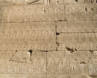Relief depicting rows of captives in Karnak Temple in Luxor, Egypt. Relief depicting rows of captives in the Karnak Temple in Luxor, Egypt royalty free stock photo