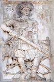 Saint George. Relief depicting Saint George, facade detail of St. Mark`s Basilica, St. Mark`s Square, Venice, Italy, UNESCO World Heritage Site Stock Image