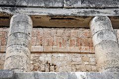 Relief details of temple ruins in great ball court Royalty Free Stock Photo