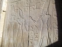 Relief of the Egyptian gods and pharaohs royalty free stock image