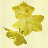 Relief embossed flowers on a yellow background. Gold generated texture with flowers Stock Photos
