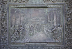 Relief on the entrance of Duomo in Pisa. Royalty Free Stock Photography