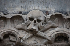 Relief on facade of old building, skull ornament Royalty Free Stock Photography