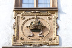 Relief on facade of old building, stone crown, Prague, Czech Republic Stock Photo