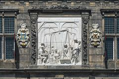 Relief on the facade of the Waag (weigh house) in Gouda, Netherlands Stock Photos