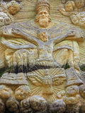 Relief of the Holy Trinity - stone altar carved in sandstone cli Royalty Free Stock Photography