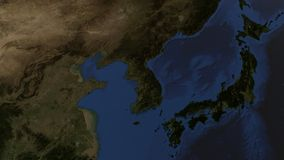 Relief image of the Korean peninsula and the Japanese islands on the globe Royalty Free Stock Images